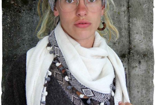 sciarpa triangolare di lana d'alpaca