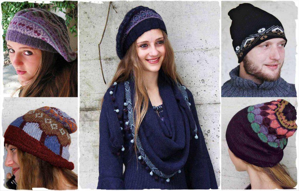 tutti modelli di cappelli invernali di lana di alpaca realizzati a mano da artigiani peruviani.